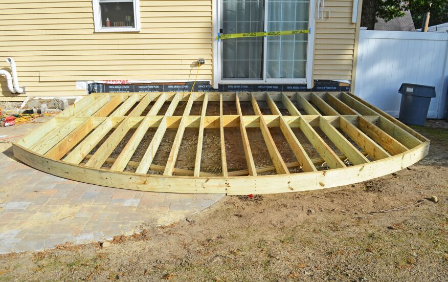 Building The Patio Was Straightforward But Deck Became Challenging Here In New England We Like To Set Height Of Our Decks One Riser