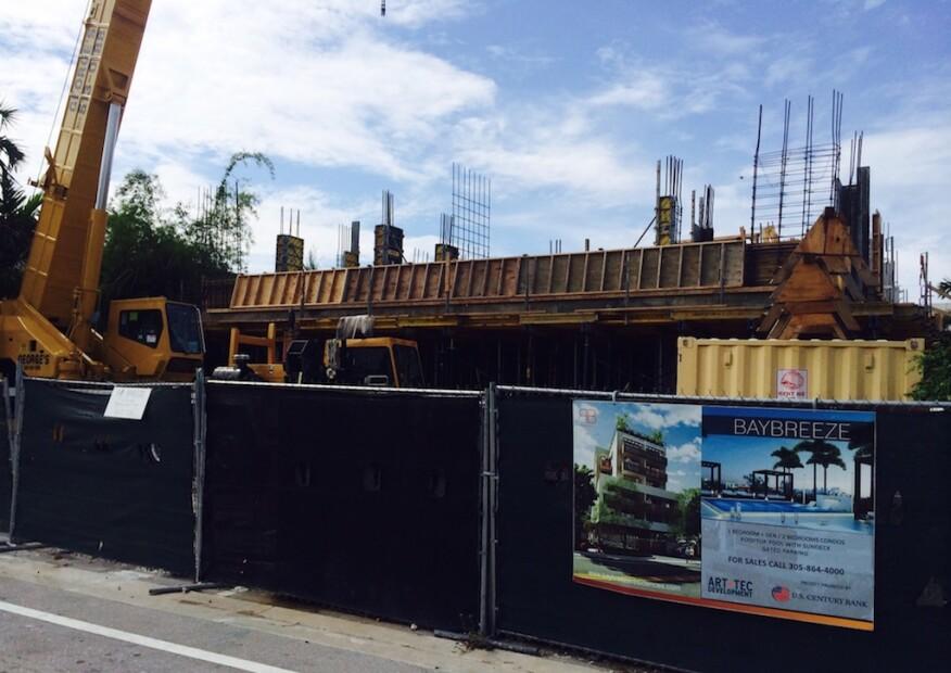 New condos and construction cranes everywhere in Bay Harbor Island, Miami.