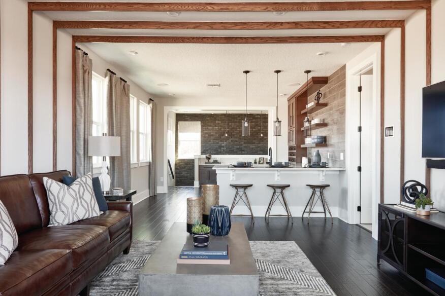 Multifunctional Living Space featuring Ironside TundraBrick from Eldorado Stone