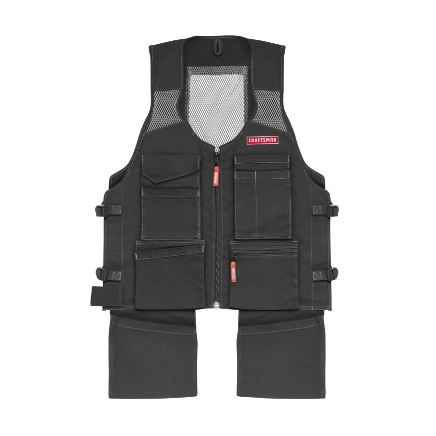 The Craftsman Work Vest Has Nine Pockets All On Front Of Garment