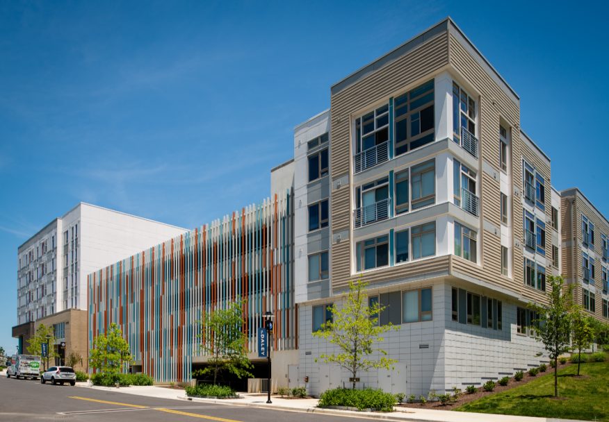 Bozzuto's Daley apartment building in Rockville, Md., is located in a walkable community close to transportation, dining, retail, and outdoor recreation.