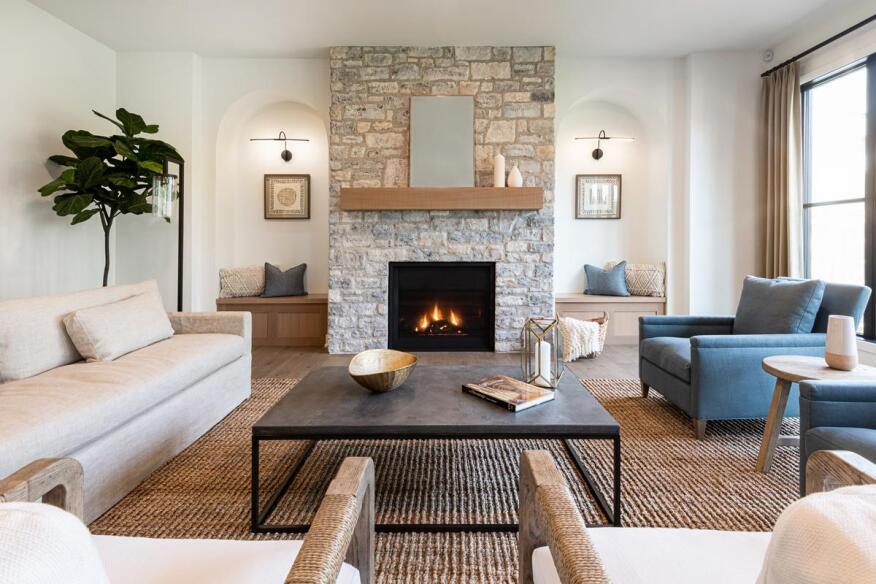 Reading Room featuring Grand Banks Limestone from Eldorado Stone
