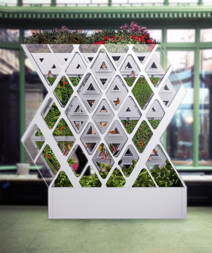 From Cooper Hewitt: Terreform ONE's Monarch Sanctuary, which will transform Cooper Hewitt's conservatory into a haven for monarch butterflies. These insects, whose wild populations are being decimated by climate change, will be released periodically during the exhibition.