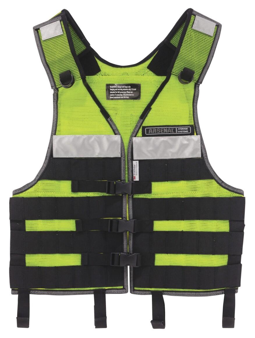 The Ergodyne Arsenal 5590 Industrial MOLLE Vest Kit Uses A PALS Webbing Ladder System For Securing