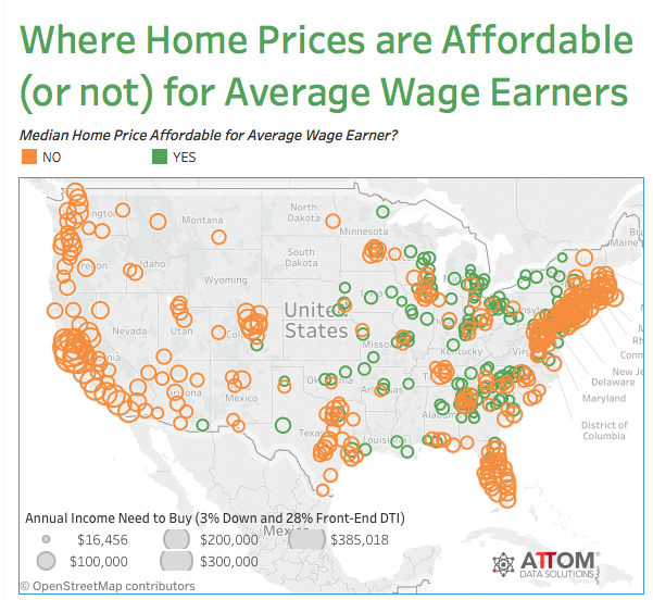 MedianPriced Homes Not Affordable In 68 Of US Markets - View House Prices On Map In Us