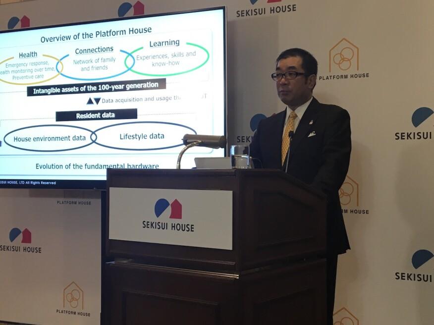 Sekisui House President Yoshihiro Nakai announces healthy home innovation, Platform House, at CES19 in Las Vegas.