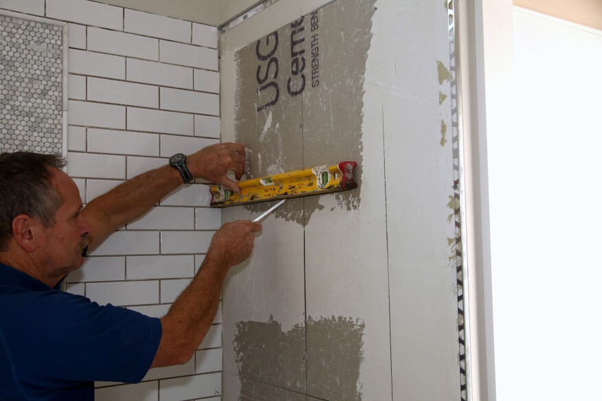 Usually I Cut The Backerboard To Exact Edge Of Layout Line Planning For Niche Tile