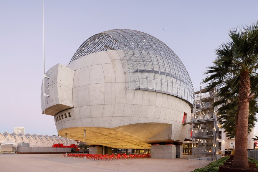 The sphere, a globular dome and concrete addition to the north end of the Academy Museum of Motion Pictures