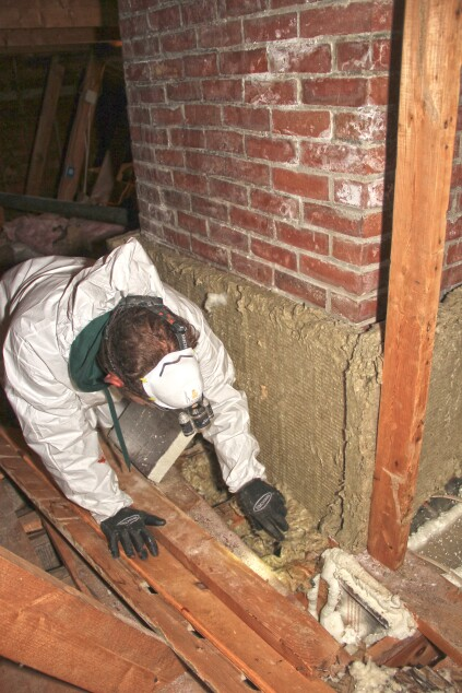 Sealing a chimney chase jlc online insulation energy for Roxul foil faced mineral wool