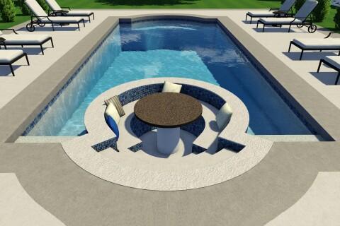 Thursday Pools Introduces The Sunken Living Area Fiberglass Pool Pool Spa News
