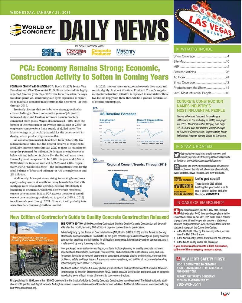 Daily News: Jan  23, 2019| Concrete Construction Magazine
