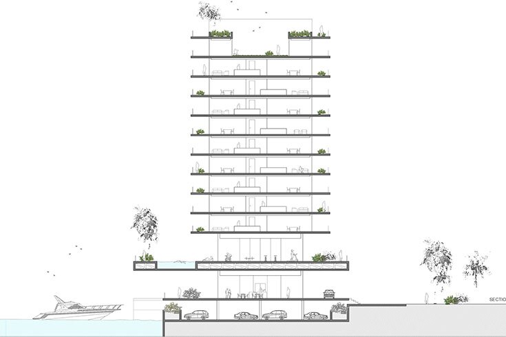 Indian creek tower residential architect space4 for Modern view decking