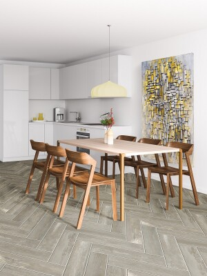 Porcelain wood-look tile is versatile and can be used in wet or dry areas.
