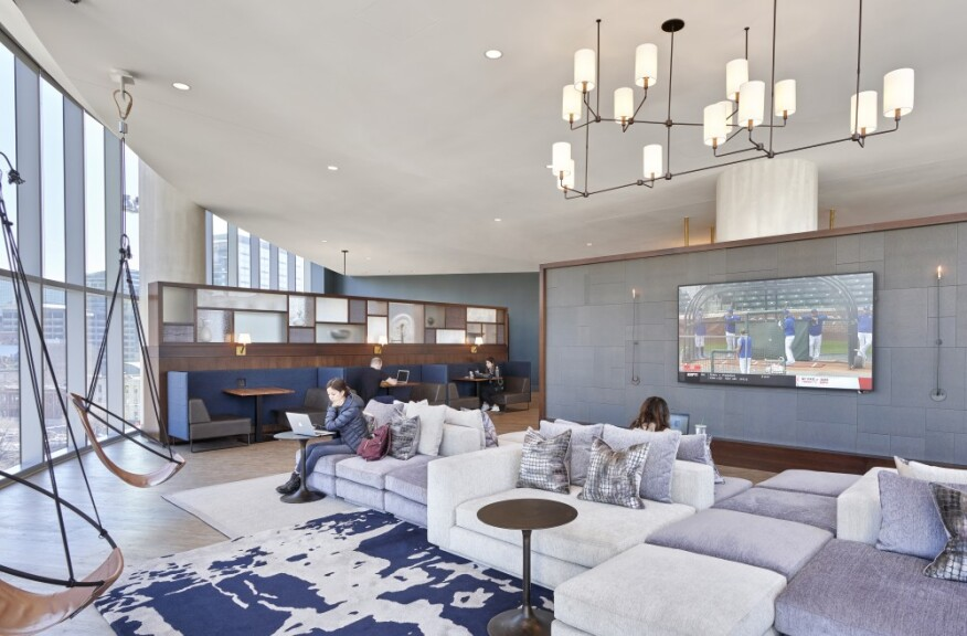 """The amenity spaces at 727 West Madison in Chicago are designed to incorporate """"vignette"""" spaces, where residents can work around others but maintain personal space."""