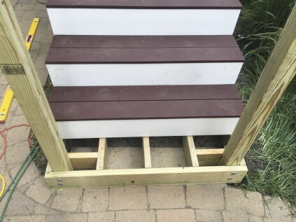 Both vertical and horizontal blocking can be used to reinforce the connection between stair guard posts and the stair stringers.