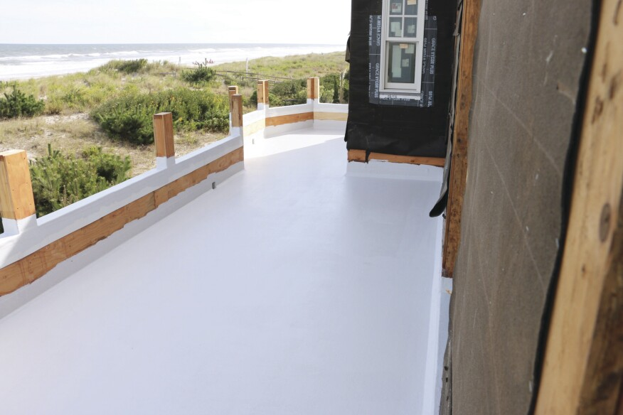 The cured gelcoat provides a durable, weatherproof walking surface, though PT sleepers could also be glued to the fiberglass and standard decking applied for clients who don't like the look or feel of fiberglass.
