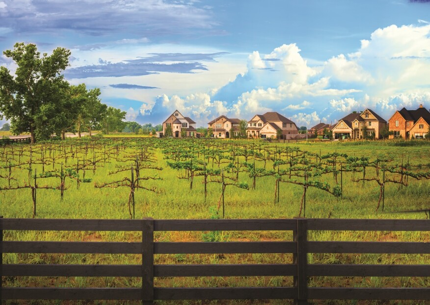 Harvest Green: The vineyard produces grapes for the Texan winery Messina Hof, which has a full-service restaurant and winery in the community.