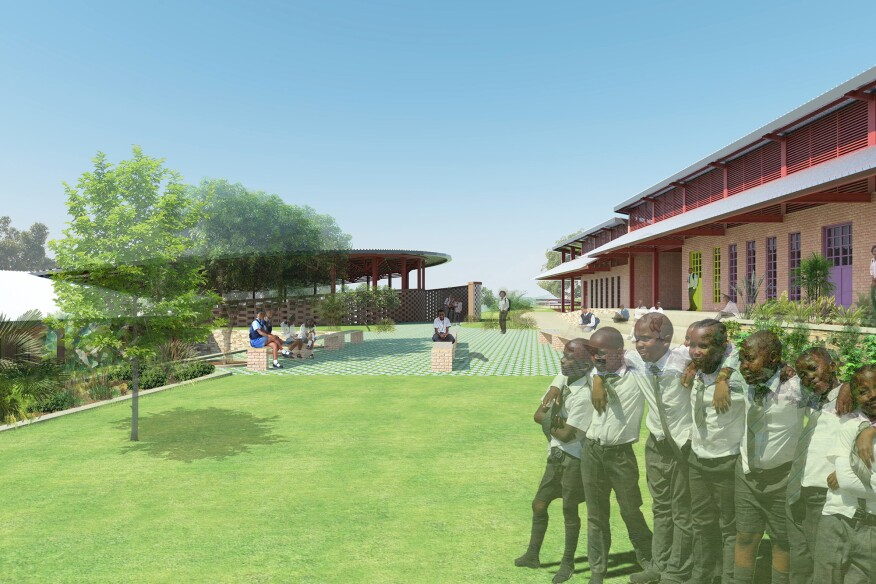 Bujjuko School, Bujjuko, Uganda.  In this largely agricultural region, community members spend most of their time outdoors, retiring indoors at night.  Adengo Architecture's design echoed this model by providing a seamless relationship between the interior and exterior of the school.