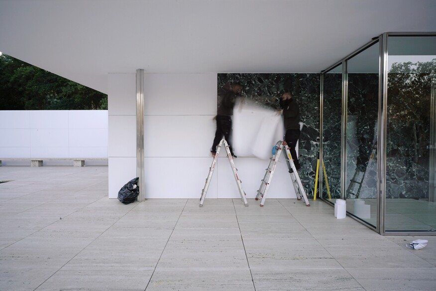 Mies Van Der Rohes Barcelona Pavilion Goes White Architect