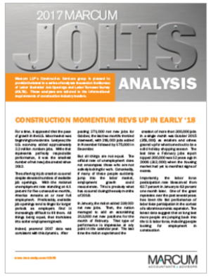 marcum llp released its annual analysis of job trends in the construction industry based on the bureau of labor statistics job openings and labor turnover