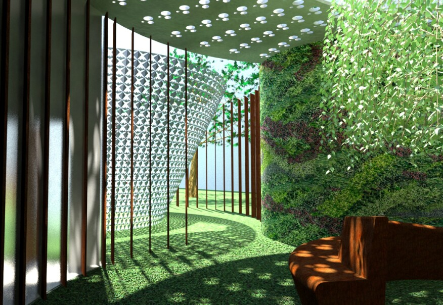 The Refresh amenity starts with a green processional path to enhance meditation.