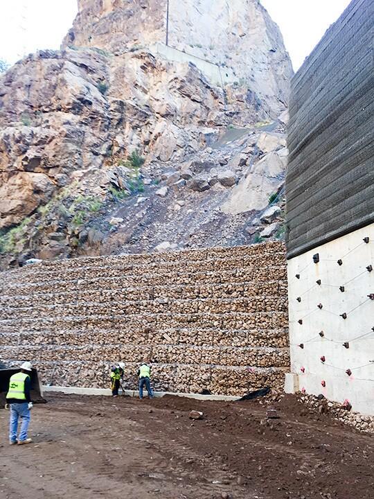 Horse Mesa Dam Rock Debris Talus Stabilization Concrete