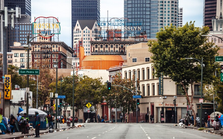 Skid Row In Downtown Los Angeles