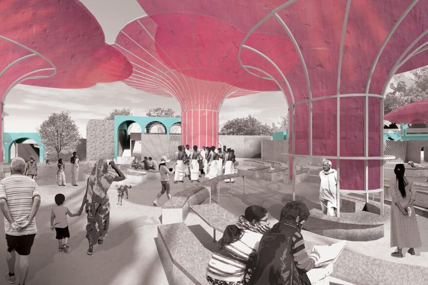 Le Jeeveka Free Transitional Centre en Inde, un projet de recherche qui a examiné la conception d'une installation où les travailleurs forcés pourraient faire la transition vers une vie normale.