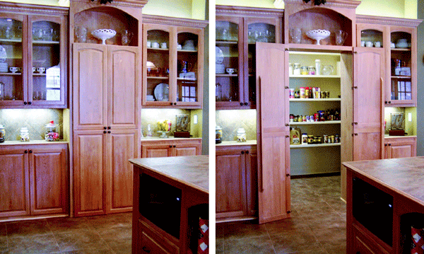 The Cabinets On Both Sides Of Hidden Pantry Door Are 12 Inches Deep But Cabinet Maker Byron Clinkingbeard Says This Installation Also Works For