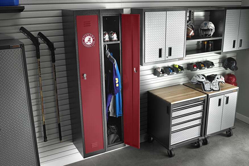 garage storage lockers gear up with team colors remodeling design interiors 15741