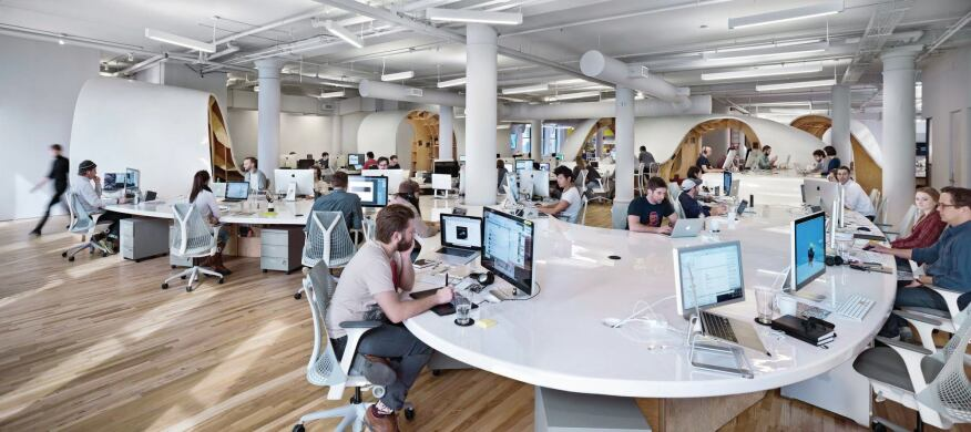 office by design. The Barbarian Group Superdesk, Designed By Clive Wilkinson Architects, Can  Accommodate As Many Office Design