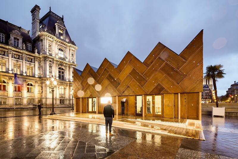 A Wooden Crown Pavilion Made From Construction Waste Architect
