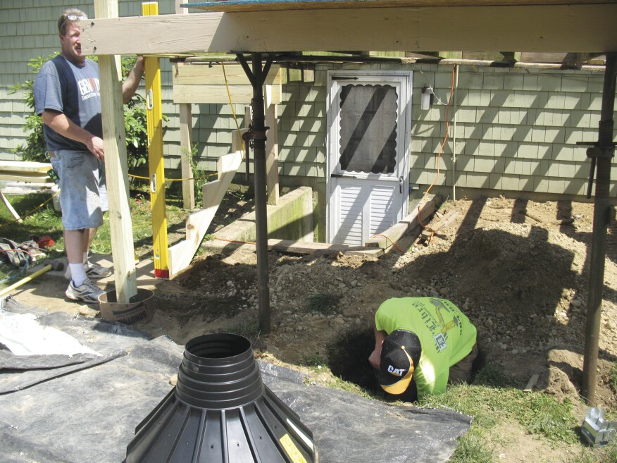 Ripping the PT joists of an eye-level deck to uniform size with a perfectly straight upper edge prior to installation will eliminate noticeable dips in the decking later.