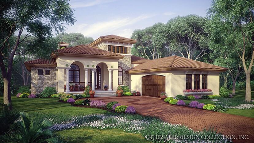 Fourplans modern mediterranean homes from dan sater for Modern mediterranean house plans