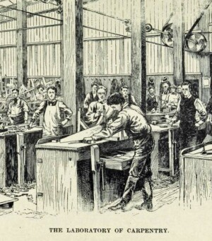 """Prior to the Smith-Hughes Act (which by the sheer magnitude of the dollars it poured into states for a segregated vocational system overpowered all early 20th-century educational reforms), there were other education movements that, while they didn't gain enough momentum to have a big effect on public education, nevertheless had a strong, albeit fleeting, influence on public opinion. One of the more interesting ones was the """"manual training movement"""" which took off after Charles Ham published Mind And Hand: the Chief Factor in Education in 1886 (republished 1900 ). In this treatise, Ham defines the Ideal School (divided into various Laboratories for different trades) and argues that manual training is not only good for skill acquisition, but also builds the self-esteem of individuals that is needed for them to become better citizens."""