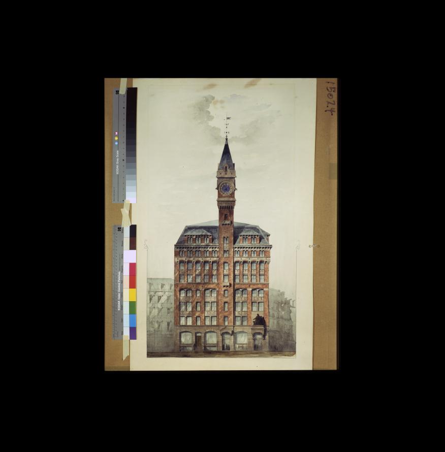 L'élévation du bâtiment de la tribune à New York par Richard Morris Hunt, vers 1873