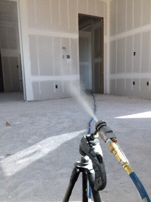 The Aerobarrier system uses an aerosol-applied sealant that creates an air barrier around ceilings, walls, floors, doors, windows, and electrical and plumbing fixtures.