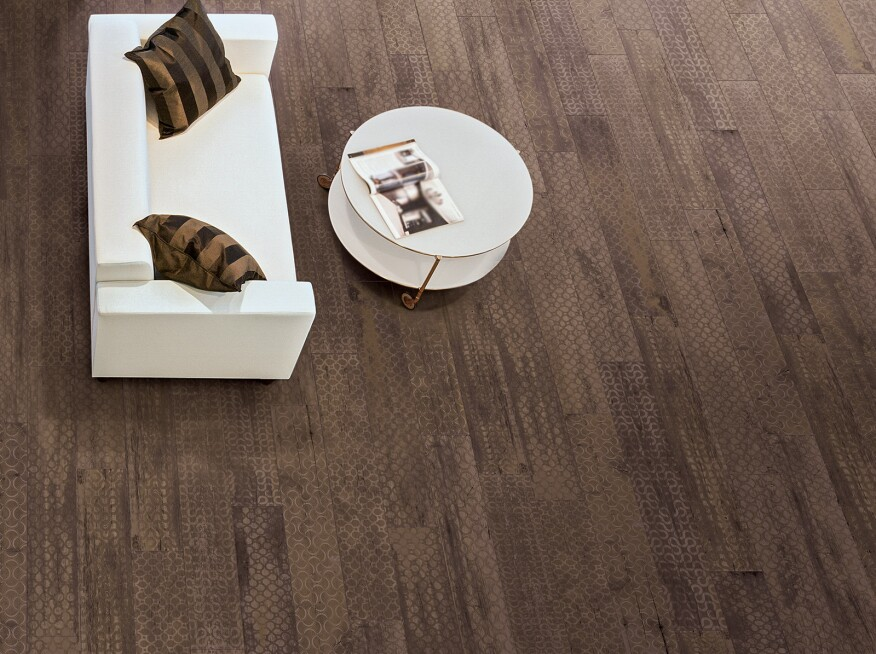 Inspirational Manufacturers are utilizing new textures to define this year s tile trends Designs range from lace macramé linen and madras to masculine suiting fabrics Picture - New Ceramic Wood Tile Style