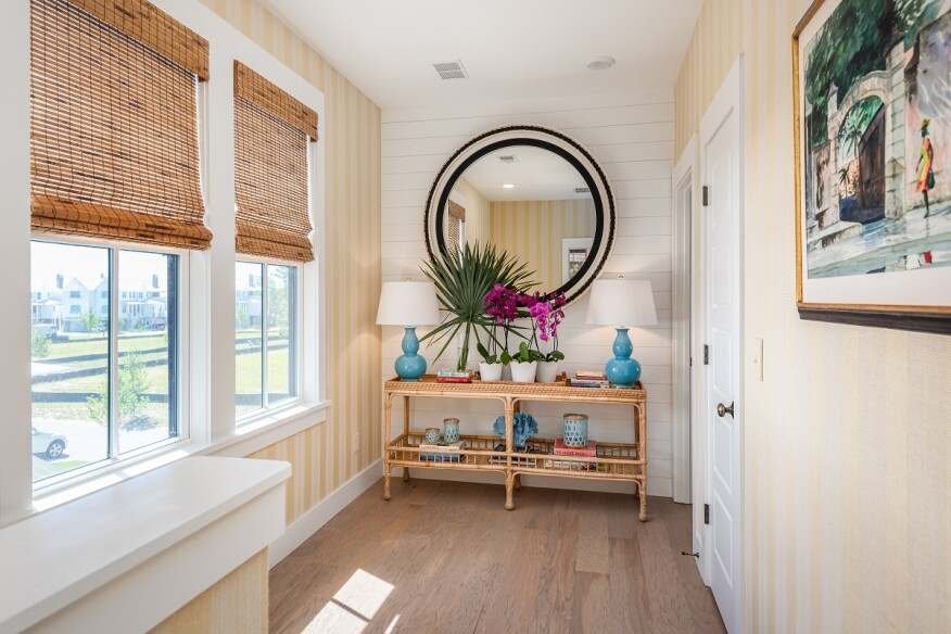 While the whole Butterfly Garden Cottage village features white exteriors, the designers added pops of color in the interiors.