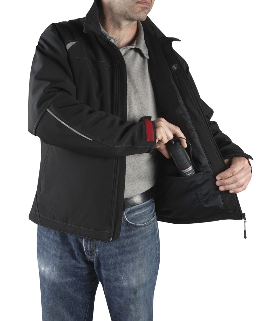 Heated Jacket Wiring Jackets For A Comfortable Work Day Builder Magazine Tools Boschs Model Psj120 Has Deep Zippered Front Pockets
