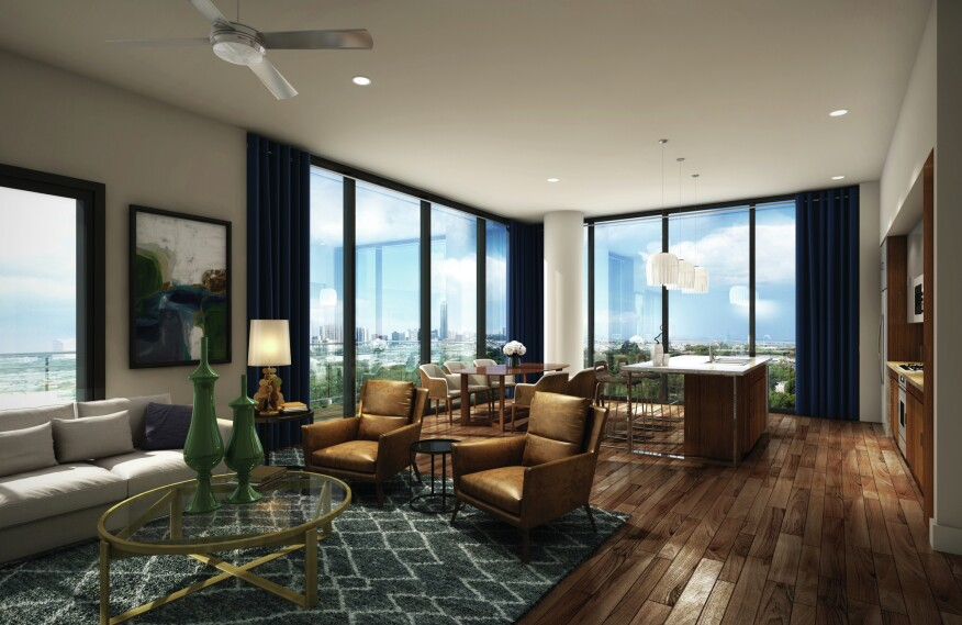 Transwestern's Houston project The Hayworth (left) offers units as large as 2,324 square feet with three beds and three baths.