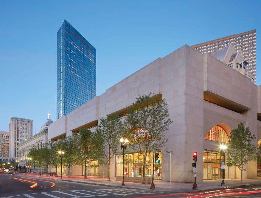 The boston public librarys johnson building is infused with new the distinct architectural styles of the library39s two buildings faades on aloadofball Choice Image