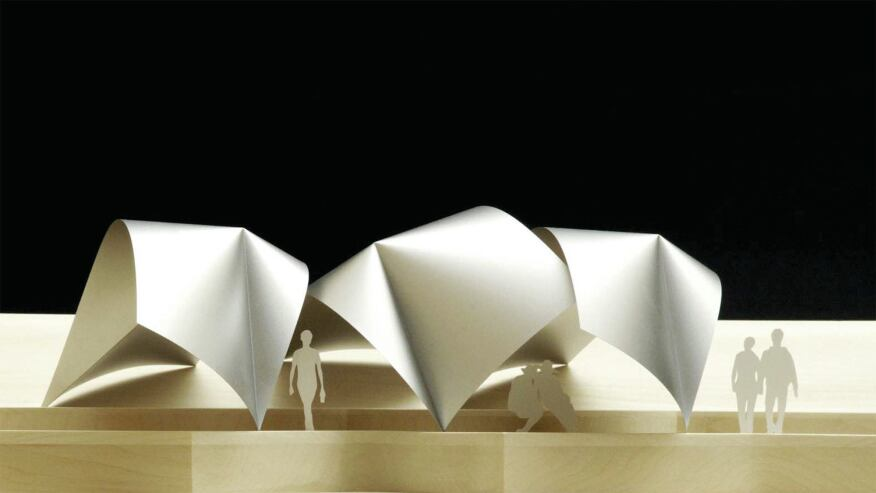 The largest application that Patkau Architects envisions for One Fold thus  far is a hillside pavilion