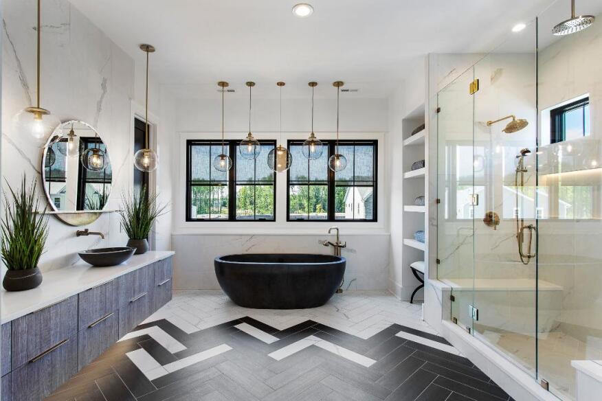 Dual-Tone Herringbone Tile Floor