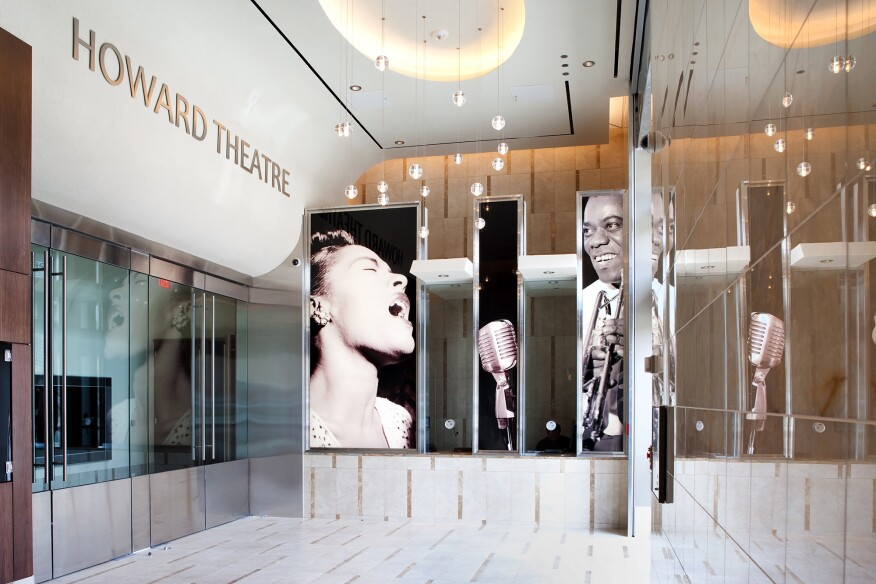 The lobby of the Howard Theatre in Washington, D.C., a project by Michael Marshall Design