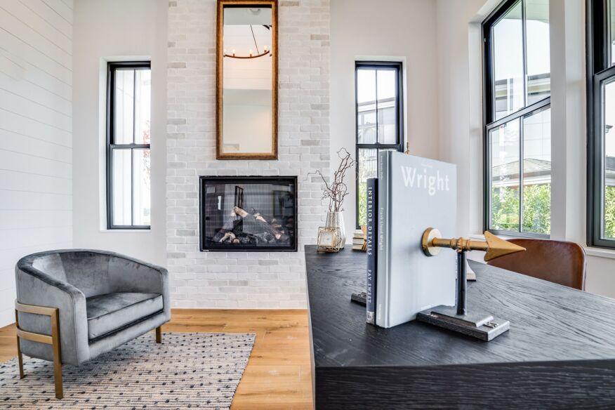 Open Home Office featuring Chalk Dust TundraBrick from Eldorado Stone