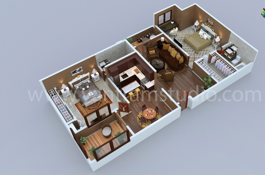 Modern Residential 3d Floor Plan Design With 2 Bedrooms By Architectural Rendering Studio 2021 Los Angeles California Architect Magazine