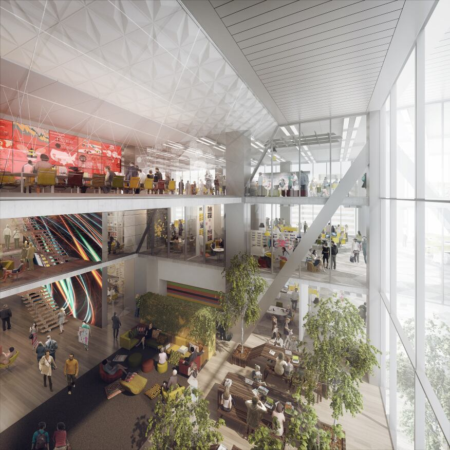 Comcast picks gensler to design interiors of new for Innovation firm los angeles