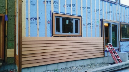 With a closed rainscreen, the siding installs with a lap joint or it overlaps, as with clapboard.