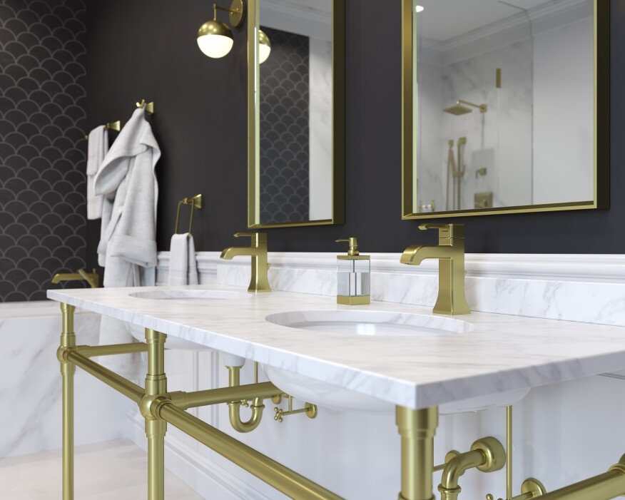 Pfister's new brushed gold finish in its Park Avenue collection